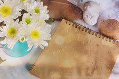 Blank area note book or diary with flower and pebble and water d Stock Image