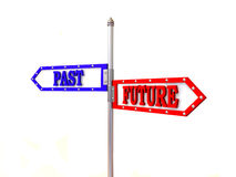 Blank arrows directions. Future and past. 3d Stock Photo