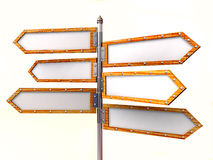 Blank arrows directions. Very beautiful three-dimensional illustration, figure Stock Images