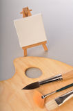 Blank art board, wooden easel. On paper royalty free stock images
