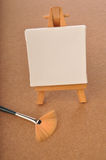 Blank art board, wooden easel Stock Photo