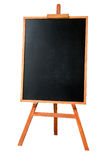 Blank art board, wooden easel. Front view, isolated on white background royalty free stock image