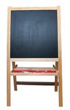 Blank art board, wooden easel, front view,. Isolated on white, with clipping path stock photos