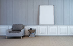 Blank art frame on wall of living room. 3d rendering of room with chair Royalty Free Stock Photo