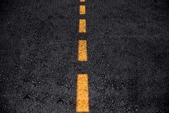 Blank asphalt road dark clean freeway or highway. Asphalt road texture with yellow line clean new freeway or highway background royalty free stock photos