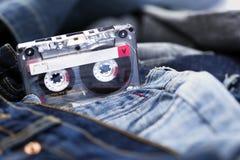 Audio Cassette on Denim Stock Photography