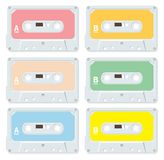 Blank audio cassettes. Casettes isolated and in different colors Royalty Free Stock Photo