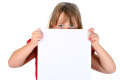 blank bärande flicka isolerad paper liten white Arkivbilder