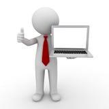 blank bärbar datoruppvisning för affärsman 3d Royaltyfri Fotografi