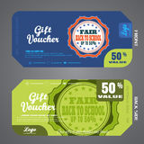 Blank of back to school fair gift voucher vector illustration to increase sales on dark blue and green background. Stock Image