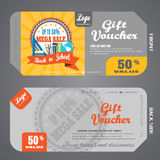 Blank of back to school gift voucher vector illustration to increase sales against the background of the poster back to school sal Royalty Free Stock Photography