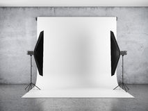 Blank backdrop and two softboxes Royalty Free Stock Images