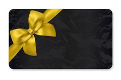 Gift card Gift card discount, Holiday reward card, Gift coupon with gold bow, golden ribbon and black pattern royalty free illustration