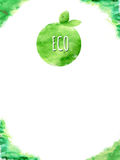 Card green ECO fruit With watercolor design Royalty Free Stock Photos