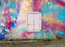 Blank background for your text. The texture of a grunge old street on the facade wall with cracked paint Stock Photo