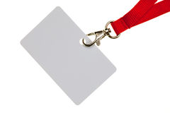 Blank badge. With red neckband on white background Royalty Free Stock Photos