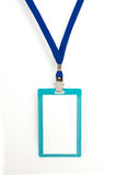 Blank badge. With blue neckband on white background Stock Photo
