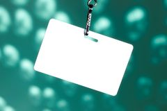 Blank badge on blue Royalty Free Stock Photography