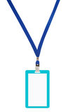 Blank badge with blue neckband. Stock Images