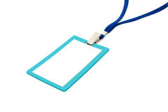 Blank badge with blue neckband. Royalty Free Stock Photo