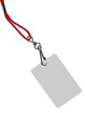Blank badge with copy space (+ clipping path). Blank ID card / badge with copy space, isolated on white. Contains clipping path of the card (without neckband) to royalty free stock images