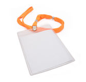 Blank badge isolated. Blank ID card / badge with orange belt isolated over white background Royalty Free Stock Photography