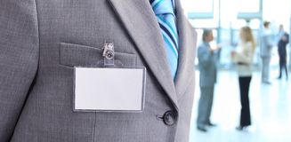 Blank Badge on mens torso royalty free stock image