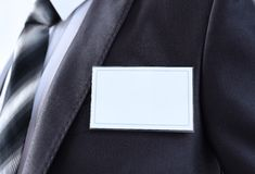 Blank Badge on mens torso Royalty Free Stock Photo