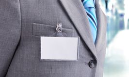 Blank Badge on mens torso Royalty Free Stock Photos