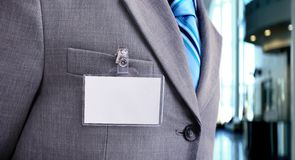 Blank Badge on mens torso Stock Photo