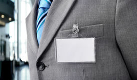 Blank Badge on mens torso Stock Photography