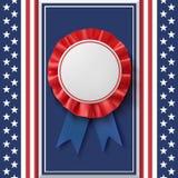 Blank badge. Patriotic award ribbon on abstract background. Royalty Free Stock Image