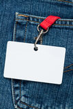 Blank badge in a pocket Stock Image