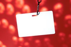 Blank badge on red. Background Royalty Free Stock Photography