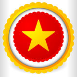 Blank badge, rosette, cockade icon with yellow star shape Stock Image