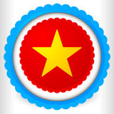Blank badge, rosette, cockade icon with yellow star shape. Royalty free vector illustration Royalty Free Stock Images