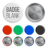 Blank Badges Set Vector. Realistic Illustration. Clean Empty Pin Button Mock Up. White, Blue, Red, Black, Green Stock Photos