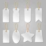 Blank baggage labels, white luggage tag, clothes price tags vector set Royalty Free Stock Images