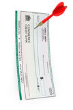 Blank Bank Check with Darts Arrow. A white background Stock Images