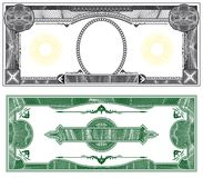 Blank banknote layout. With obverse and reverse based on dollar bill Stock Photos