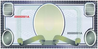 Blank banknote layout. A blank form to create a banknote of whatever denomination stock illustration