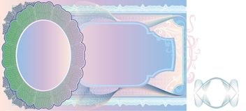 Blank banknote layout Stock Images
