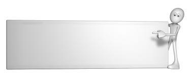 Blank banner. White guy and blank white banner - 3d illustration Royalty Free Stock Image