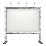 Blank banner. Blank advertising banner on truss system isolated on white Royalty Free Stock Images
