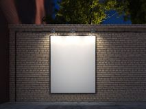 Blank banner with black illuminated frame on brick walls, 3d rendering stock photo