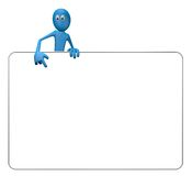 Blank banner. Cartoon guy and blank white sign - 3d illustration Royalty Free Stock Photo