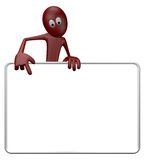 Blank banner. Cartoon guy and blank white sign - 3d illustration Stock Images