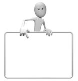 Blank banner. Cartoon guy and blank white sign - 3d illustration Royalty Free Stock Photos