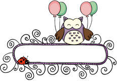 Blank banner with cute owl holding balloons Royalty Free Stock Image