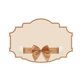 Blank banner with golden ribbon and a bow Royalty Free Stock Image